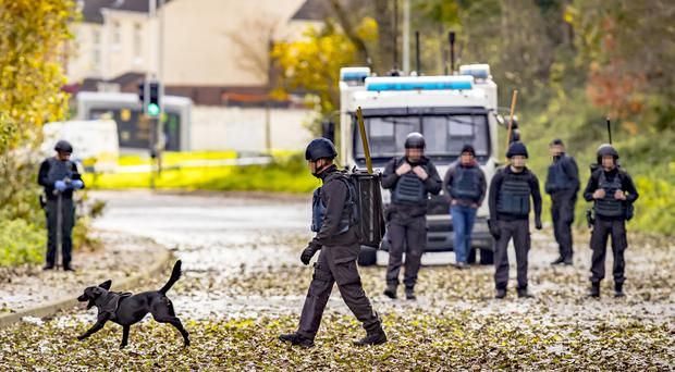 ATO carry out searches in the Poleglass area of west Belfast as a security operation enters its third consecutive day on November 1st 2017 (Photo by Kevin Scott / Belfast Telegraph)