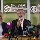 PACEMAKER BELFAST 01/11/2017: The Sinn Fein Leader in the North, Michelle O'Neill with Leader‎ ‎Gerry Adams and members pictured during a press conference in Stormont on Wednesday, Sinn Féin said the confidence and supply arrangement between the DUP and the Conservative party had