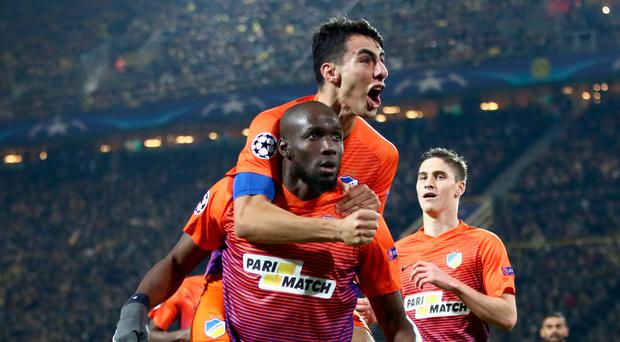 Net gain: Mickael Pote of Apoel FC celebrates his goal
