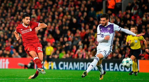 Back of the net: Emre Can slots home Liverpool's second goal against Maribor