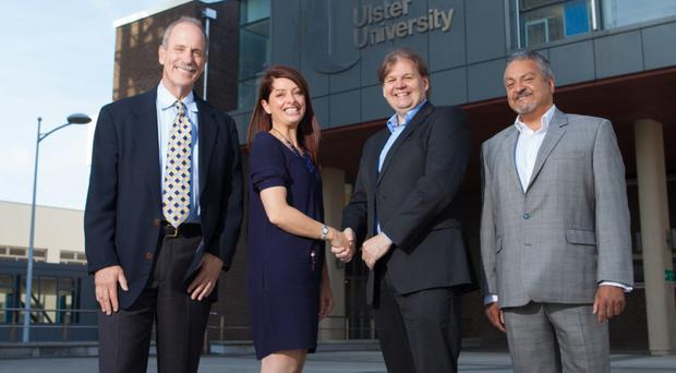 Steve Lesser Boston based new investor Zymplify, with Dr Karise Hutchinson, Provost at Coleraine Ulster University and Michael Carlin CEO Zymplify along with Raj Kapoor current investor Zymplify