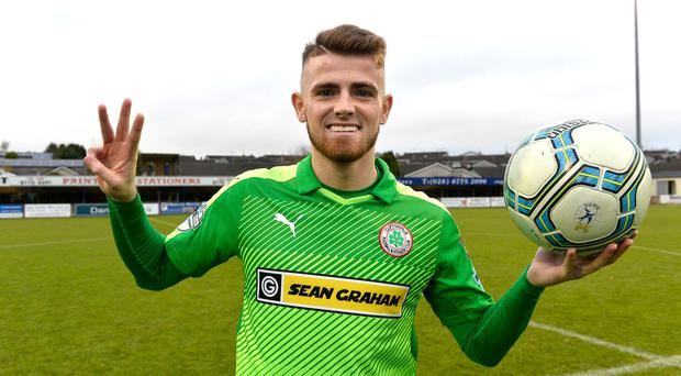 Three and easy: Rory Donnelly after his treble against Swifts