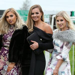 Press Eye - Belfast - Northern Ireland - 2nd November 2017 The first day of Down Royal Festival of Racing took place today, Friday 3rd November celebrating 332 years of racing at the Co. Down racecourse. Katie Andrew, Aisling Gallagher, Tiffany Brien and Siobhan Murphy are pictured at Down Royal. Photo by Kelvin Boyes / Press Eye.