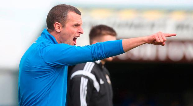 Pointing the way: Coleraine manager Oran Kearney is not getting ahead of himself despite his side's strong start