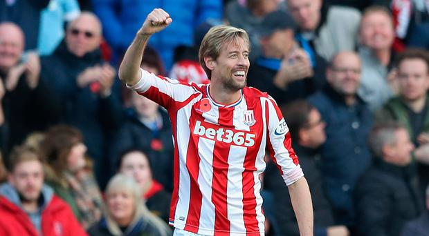 Peter Crouch celebrates for Stoke