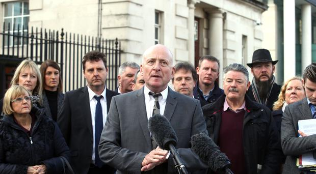 PACEMAKER BELFAST 07/11/2017 Edward Barnard talks to the press as Relatives of Glenanne make their way out of the High Court in Belfast. A judge, who has already ruled that police unlawfully frustrated any chance of an effective probe, was urged to order the completion of an overarching investigation into the so-called Glenanne Gang's killing spree throughout the 1970s.
