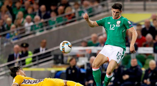 Stuck in: Callum O'Dowda shone on his first start against Moldova