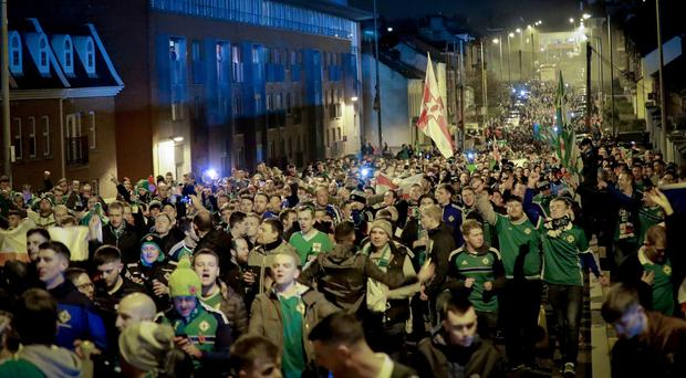 Northern Ireland's fans during the World Cup qualifying playoff at Windsor Park on November 9th 2017 (Photo by Kevin Scott / Belfast Telegraph)