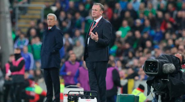 Northern Ireland manager Michael O'Neill gestures on the touchline during the 2018 World Cup Qualifying Play-Off, First Leg match at Windsor Park, Belfast. PRESS ASSOCIATION Photo. Picture date: Thursday November 9, 2017. See PA story SOCCER N Ireland. Photo credit should read: Brian Lawless/PA Wire. RESTRICTIONS: Editorial use only. Commercial use only with prior written consent.