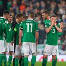 Northern Ireland's Corry Evans (centre) reacts after conceding a penalty for handball during the 2018 World Cup Qualifying Play-Off, First Leg match at Windsor Park, Belfast. PRESS ASSOCIATION Photo. Picture date: Thursday November 9, 2017. Niall Carson/PA Wire. RESTRICTIONS: