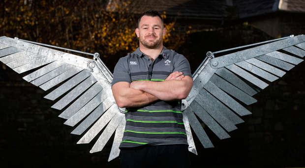Flying high: Cian Healy is ready to take on the Springboks' front row men tomorrow