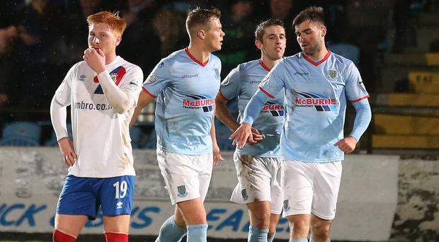 Ballymena's Jonathan McMurray celebrates scoring his side's second goal. Pic: INPHO/Matt Mackey
