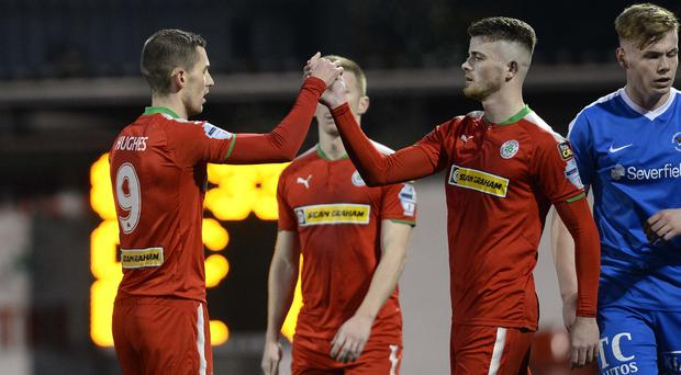 Cliftonville's Daniel Hughes celebrates one of his late double. Photo Mark Marlow/Pacemaker Press