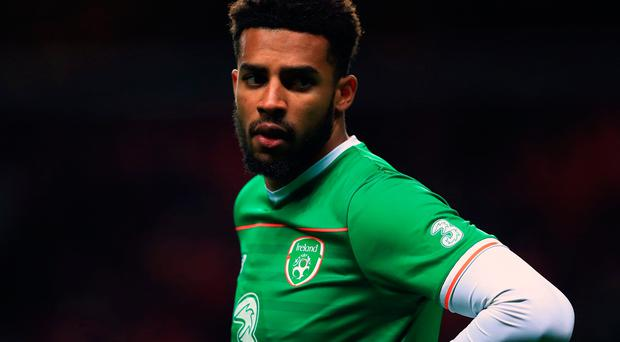 Republic of Ireland's Cyrus Christie during the FIFA World Cup qualifying play-off first leg match at the Parken Stadium, Copenhagen. Tim Goode/PA Wire.