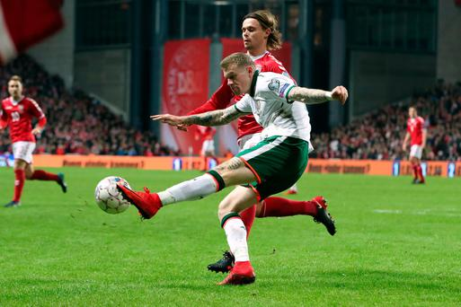 Republic of Ireland's James McClean and Denmark's Peter Ankersen in action in Copenhagen.