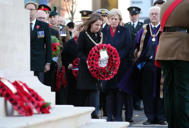 Press Eye - Belfast - Northern Ireland - 12th November 2017 Belfast Lord Mayor Nuala McAllister lays a wreath at The Cenotaph in the Garden of Remembrance, City Hall Grounds, Belfast during the National Day of Remembrance It is the city of Belfast's tribute to the memory of those who died in the Great War and the Second World War. Photo by Kelvin Boyes / Press Eye.
