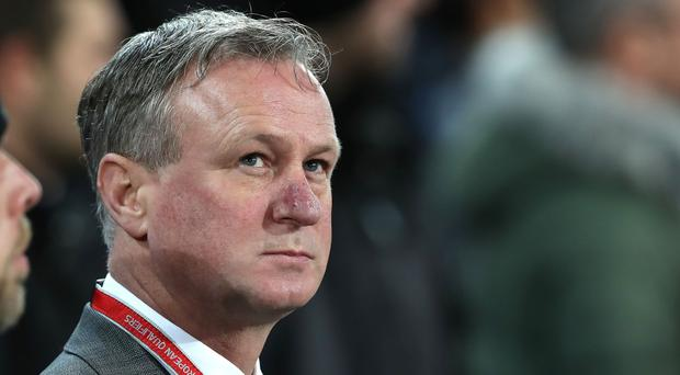 Northern Ireland manager Michael O'Neill during Sunday night's World Cup play-off second leg in Basel.