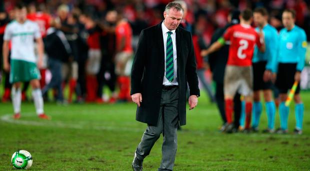 Michael O'Neill looks dejected following the FIFA 2018 World Cup Qualifier Play-Off