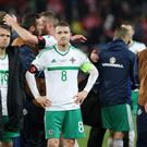 Northern Ireland's Steven Davis is dejected after drawing 0-0 with Switzerland but losing the World Cup Play Off 1-0 over the two games.