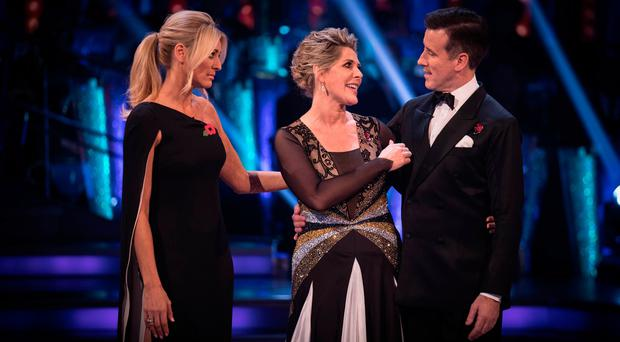 (left to right) Tess Daly, Ruth Langsford and Anton Du Beke during the results show for BBC One's Strictly Come Dancing. Guy Levy/BBC/PA Wire