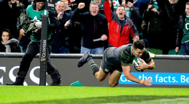 Big impact: Jacob Stockdale scores his try against South Africa