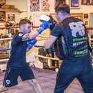 Top shape: Carl Frampton works with coach Jamie Moore ahead of his fight with Horacio Garcia