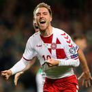 Denmark's Christian Eriksen proved the difference between the sides with a top class hat-trick.