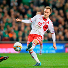 Touch of class: Denmark's Christian Eriksen scores at the Aviva last night