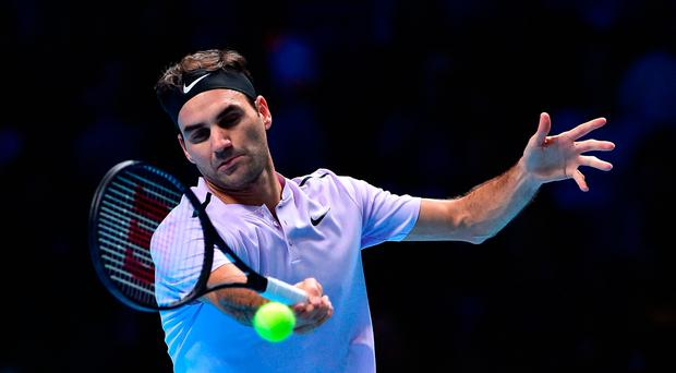 The old master: Roger Federer in action against Alexander Zverev last night