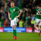 James McClean of the Republic of Ireland is dejected after the FIFA 2018 World Cup Play-Of defeat. Photo by Mike Hewitt/Getty Images