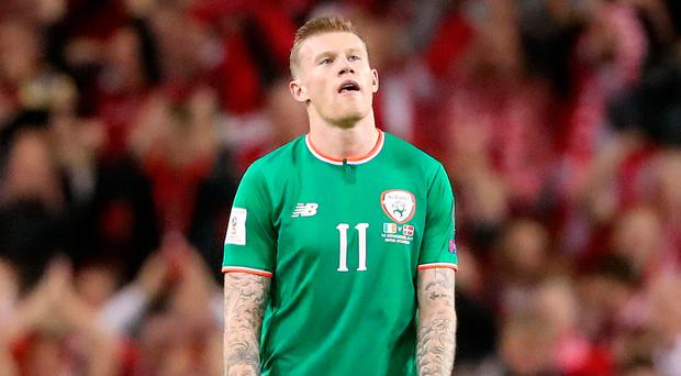 Republic of Ireland's James McClean appears dejected during the World Cup play-off second leg.