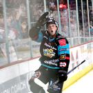 Ice cool: Darcy Murphy celebrates his goal last night