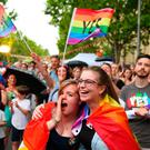 Supporters of the 'Yes' vote for marriage equality celebrate at Melbourne's Result Street Party on November 15, 2017 in Melbourne, Australia. Photo by Scott Barbour/Getty Images