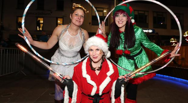 Thousands lined the streets of Lisburn City Centre (Thursday 16th November) to watch the Mayor, Councillor Tim Morrow and special VIP guest Santa light up the City's Christmas tree and glittering street lights / Credit: William Cherry/Presseye