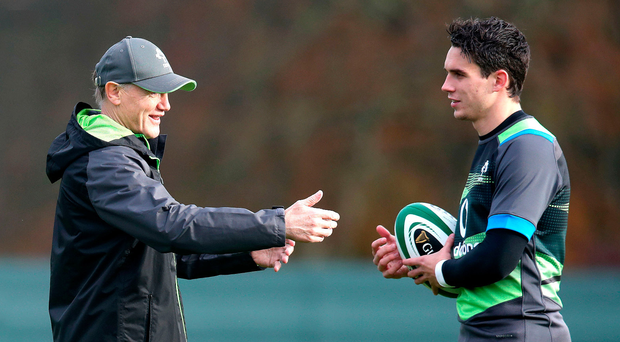 Making plans: Ireland coach Joe Schmidt talks tactics with Joey Carbery at a training session at Carton House
