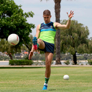 Palm before the storm: Cavan's Killian Clarke in training at Langley Park, Perth