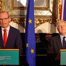 Foreign Secretary Boris Johnson meets with Irish Foreign Minister Simon Coveney at Iveagh House in Dublin. PRESS ASSOCIATION Photo Brian Lawless/PA Wire