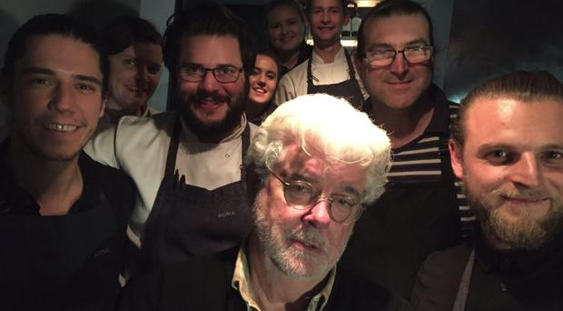 George Lucas with the team Noble staff.