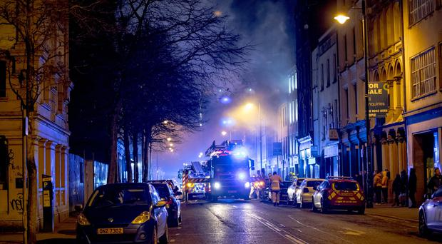 Firefighters battle a blaze in the Donegall Street area of Belfast City Centre on November 16th 2017 at Windsor Park in Belfast (Photo by Kevin Scott / Belfast Telegraph)