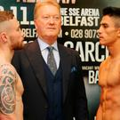 Head to head: Carl Frampton, promoter Frank Warren and Horacio Garcia at the weigh-in