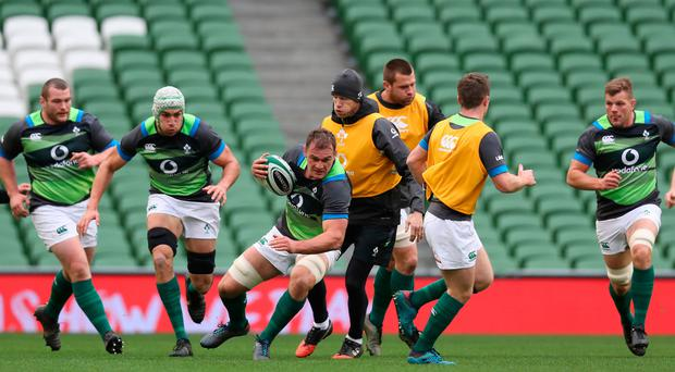 Leading role: stand-in Ireland skipper Rhys Ruddock during yesterday's Captain's Run