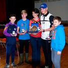 Just champion: the winning Erne Integrated team receive their awards from Kim Aston, Chairperson of Mid Ulster District Council