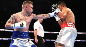 Carl Frampton in action against Horacio Garcia in a Featherweight Contest at the SSE Arena, Belfast.