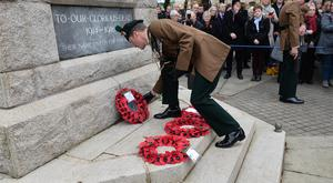 Pacemaker Press 19/11/17 A Remembrance service is held in Omagh on Sunday 19th of November , The Service was postponed last week after viable pipe bomb device was found near a cenotaph in Omagh which caused disruption to a wreath-laying ceremony on Remembrance Sunday. Pic Colm Lenaghan/Pacemaker