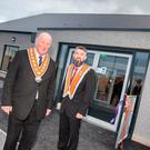 Grand Master Edward Stevenson (left) and Kilcluney worshipful master Bryan Hunter at the opening of the new Orange hall