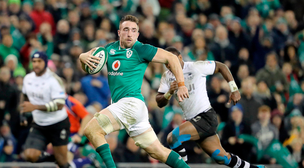 Top gear: Ireland's Jack Conan runs in to score his side's third try