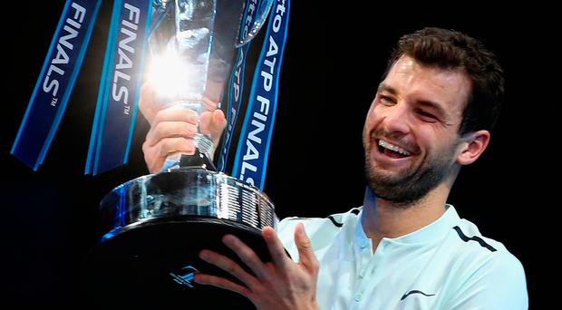 Big winner: Grigor Dimitrov he beat Goffin 7-5 4-6 6-3 at The O2 in London