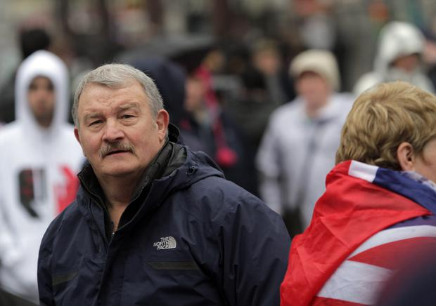 Jim Wilson during the Loyalist Flag protest at Belfast City Hall.