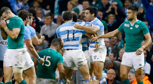 Tough to swallow: Argentina's Joaquin Tuculet hails the Puma's third try in their World Cup quarter-final win against Ireland in 2015