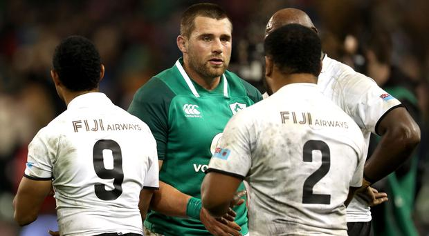 Born leader: CJ Stander revelled in his role as Ireland skipper in the victory against Fiji
